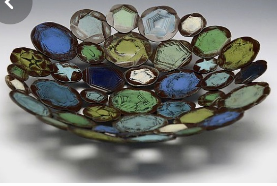 Scrap Glass Pendants and beads bowl